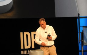 Robot brings a soda to Brian Krzanich, CEO of Intel.
