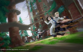 Speeder bikes take your Star Wars characters through the trees of Endor.