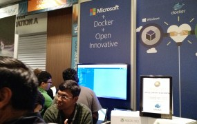 Microsoft's booth at the 2015 DockerCon conference in San Francisco on June 23.