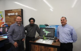 HP Sprout with Brad Short (left to right), Gurdave Ahluwalia, and Eric Monsef.