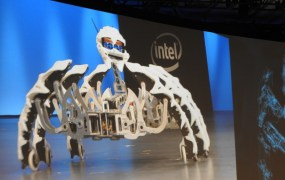 Intel dancing robot spider.