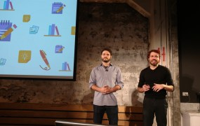Asana cofounders Dustin Moskovitz, left, and Justin Rosenstein at a press event at the startup's San Francisco headquarters on Sept. 30.