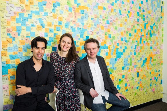 From left, CloudFlare cofounders Lee Holloway, Michelle Zatlyn, and Matthew Prince.