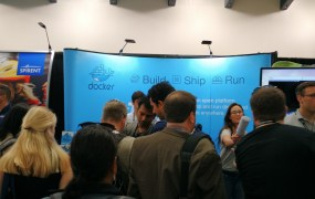 The Docker booth on the exhibition floor at VMware's 2015 VMworld conference in San Francisco on Aug. 31.