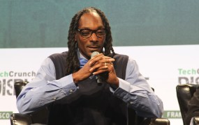 Rapper Snoop Dogg appears at the TechCrunch Disrupt conference in San Francisco on September 21, 2015 to launch his cannabis startup Mary Jane.