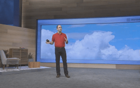 Scott Guthrie, executive vice president for Microsoft's Cloud and Enterprise group, speaks at Microsoft's 2015 Build conference in San Francisco on April 29.