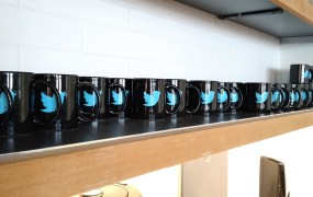 Twitter-branded coffee mugs at Twitter headquarters in San Francisco.