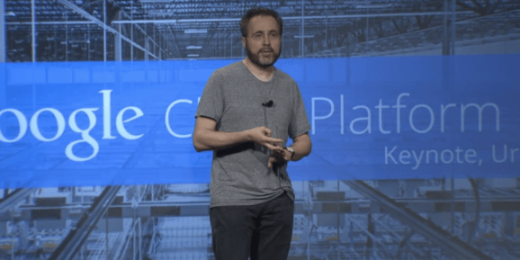 Urs Hölzle, Google's senior vice president for technical infrastructure, speaks at the Google Cloud Platform Live event in San Francisco on March 25, 2014.