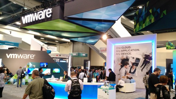 Part of the VMware booth on the exhibition floor of VMware's own 2015 VMworld conference in San Francisco on Aug. 31.