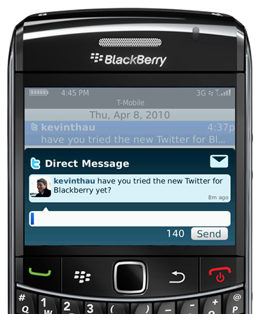 Twitter on Blackberry in April 2010.