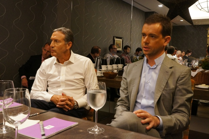 Square Chief Executive Jack Dorsey and Starbucks CEO Howard Schultz at a breakfast meeting in New York City on August 8, 2012, the day after a partnership between the two companies was announced.