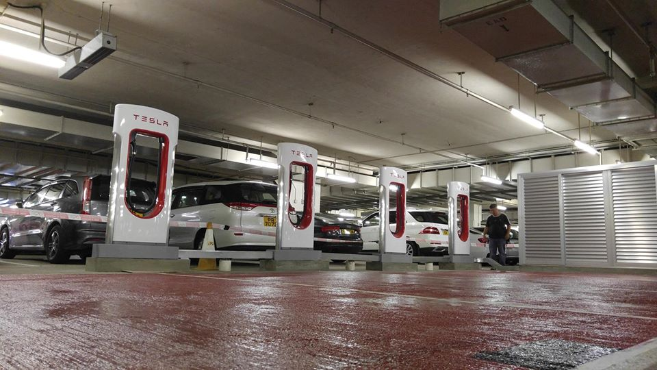 Newly-installed Tesla superchargers in Hong Kong