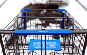 A Walmart shopping cart is seen in their parking lot in Westbury,New York, February 17, 2010.