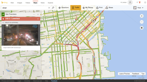 A photo from a California Department of Transportation camera in San Francisco within Bing Maps.