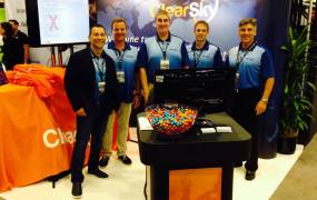 The ClearSky Data booth at the VMworld conference in San Francisco in August 2015.
