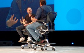 Dropbox cofounder and chief executive Drew Houston, left, speaks with Salesforce cofounder and chief executive Marc Benioff at the Dropbox Open conference in San Francisco on November 4.