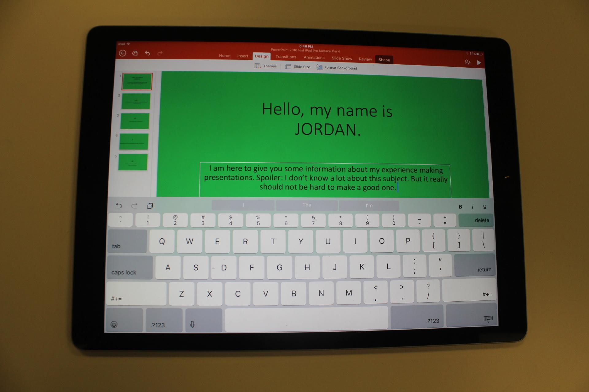 PowerPoint on the iPad Pro.