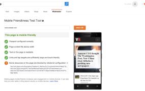 Microsoft's Bing Mobile Friendliness Test Tool analyzes VentureBeat's website.