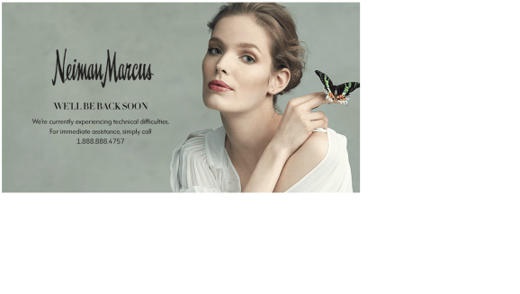 The Neiman Marcus website conveys the bad news today.