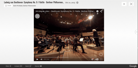A 360-degree video of Beethoven's Ninth being performed at the Berliner Philharmoniker, as shown in the Google Cultural Institute's new Performing Arts section.