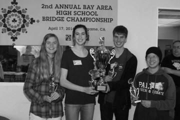 Bridge team members Claire Duffie, Olivia d'Arezzo, Cornelius Duffie and Sarah Youngquist pose at Annual Bay Area High School Bridge Championship.