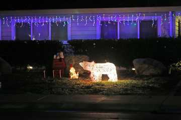 A house in Palo Alto is decorated for Christmas.