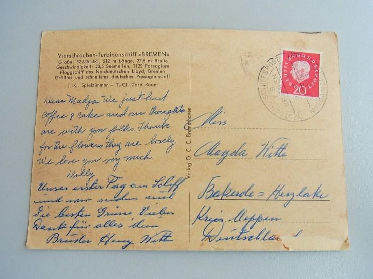 Textseite der Postkarte, mit Poststempel vom 23.09.1960