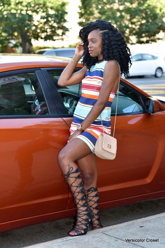 Striped dress & gladiator heels (12)