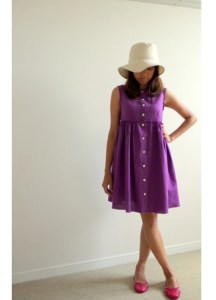 Purple dress and white hat