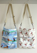 Oilcloth bags and girl's dress & hat set