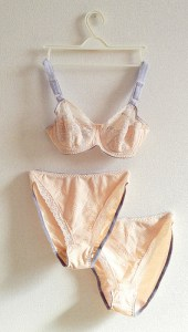 Peach and grey lingerie set