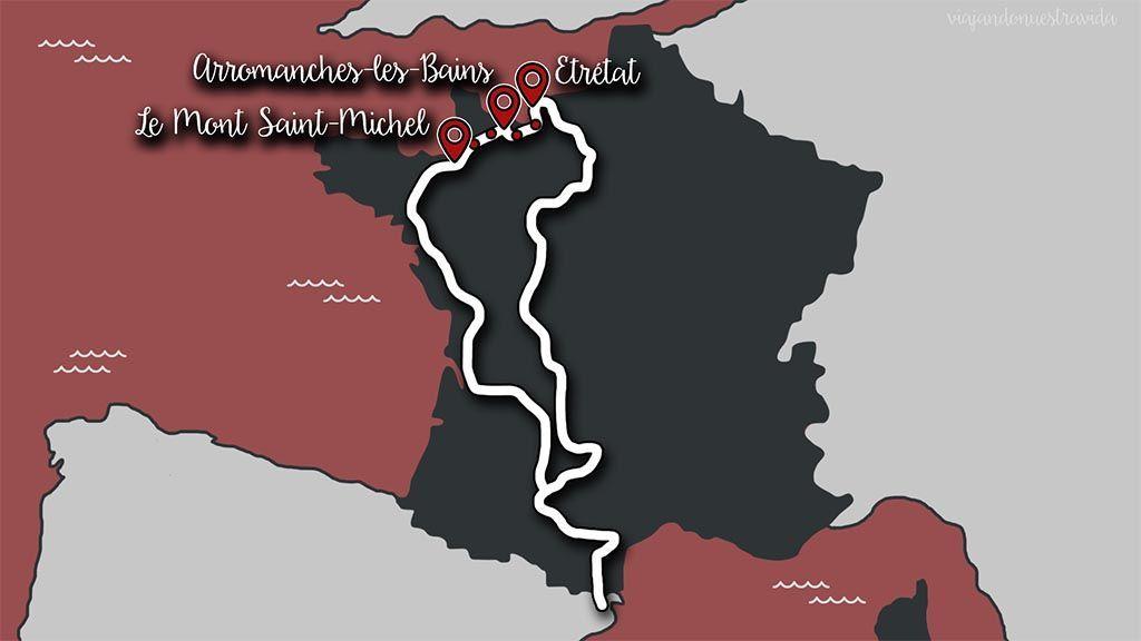 Mapa de la ruta del día Mont-Saint-Michel playas Desembarco Normandía