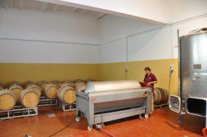 Inger working in the cellar