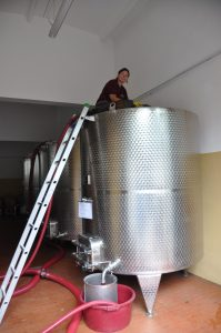 Inger cleaning one of the tanks in the cellar
