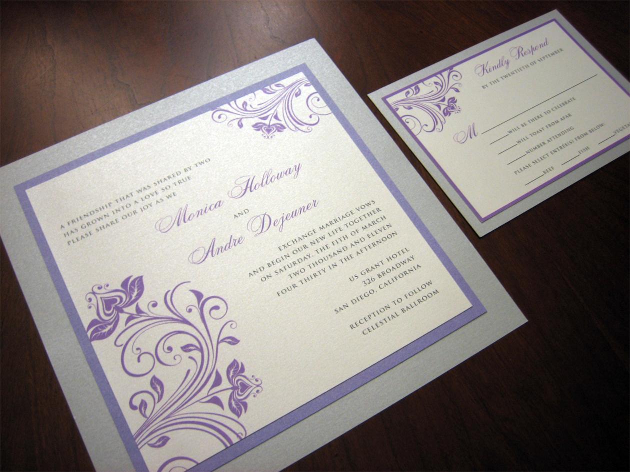 purple and silver wedding invitation purple and silver wedding Purple and Silver Wedding Invitation