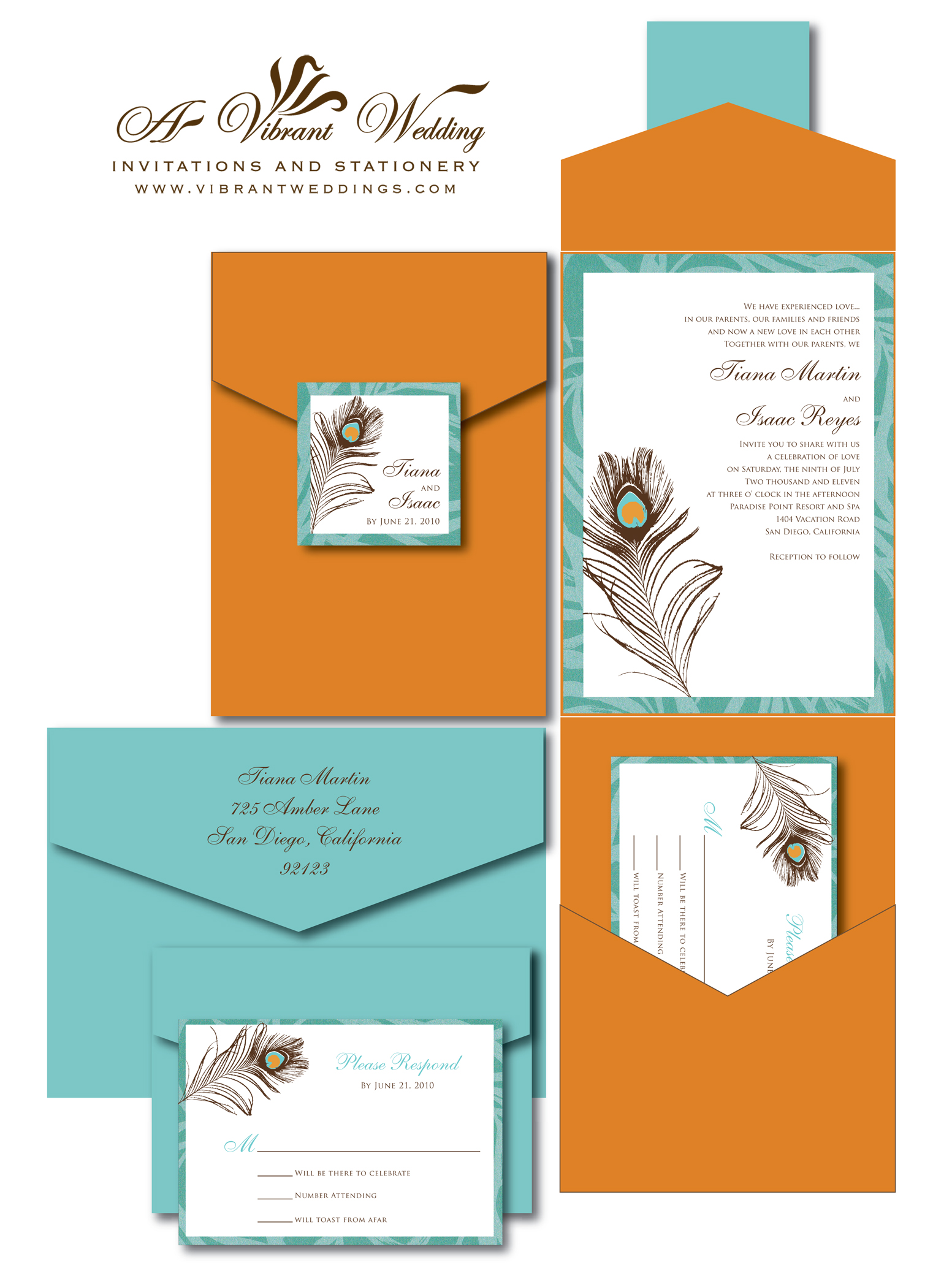orange wedding invitation tiffany blue wedding invitations Burnt Orange and Turquoise Wedding Invitation with Peacock Feather Design