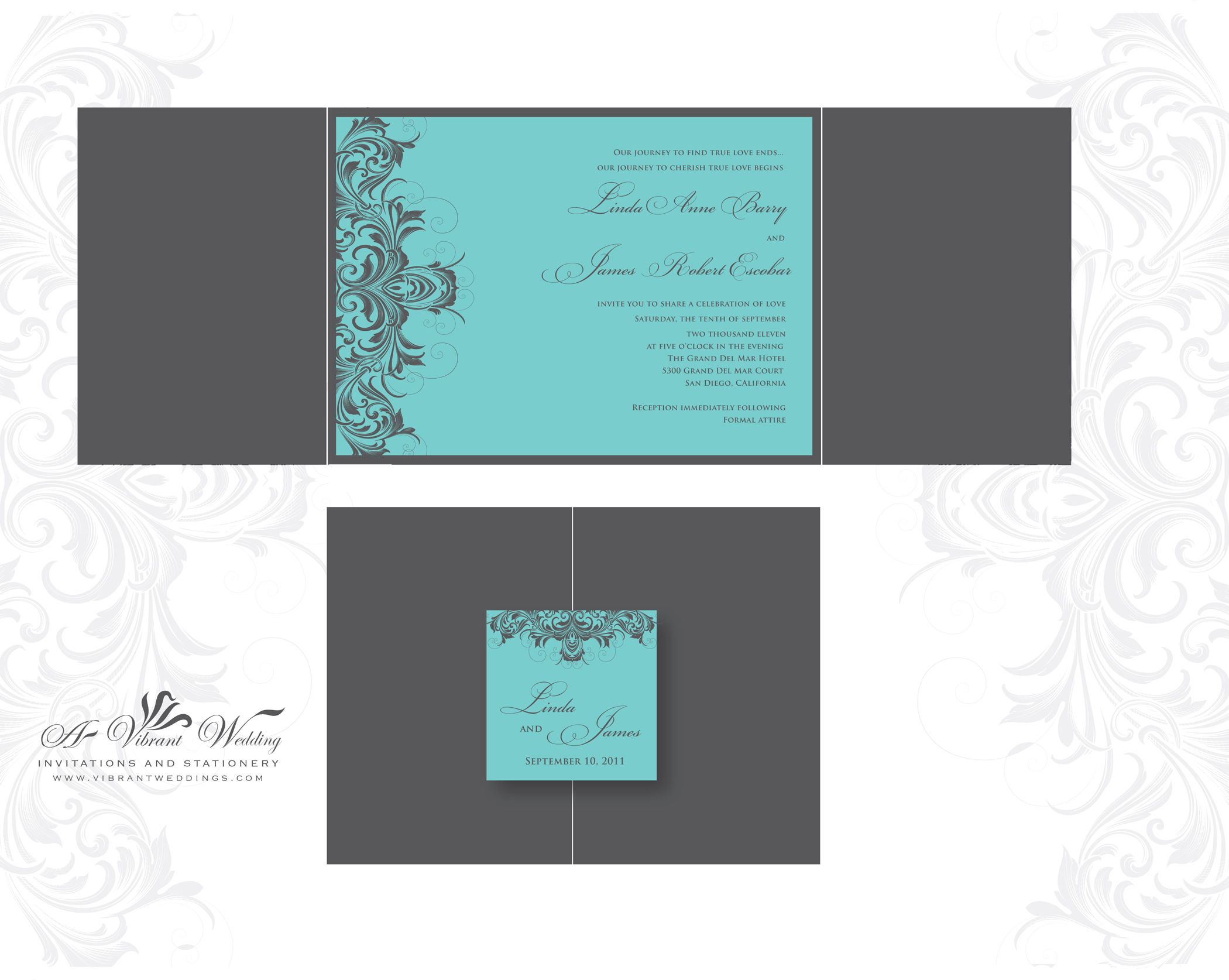 tiffany blue and grey wedding invitation tiffany blue wedding invitations Turquoise and Grey Wedding Invitation Gatefold