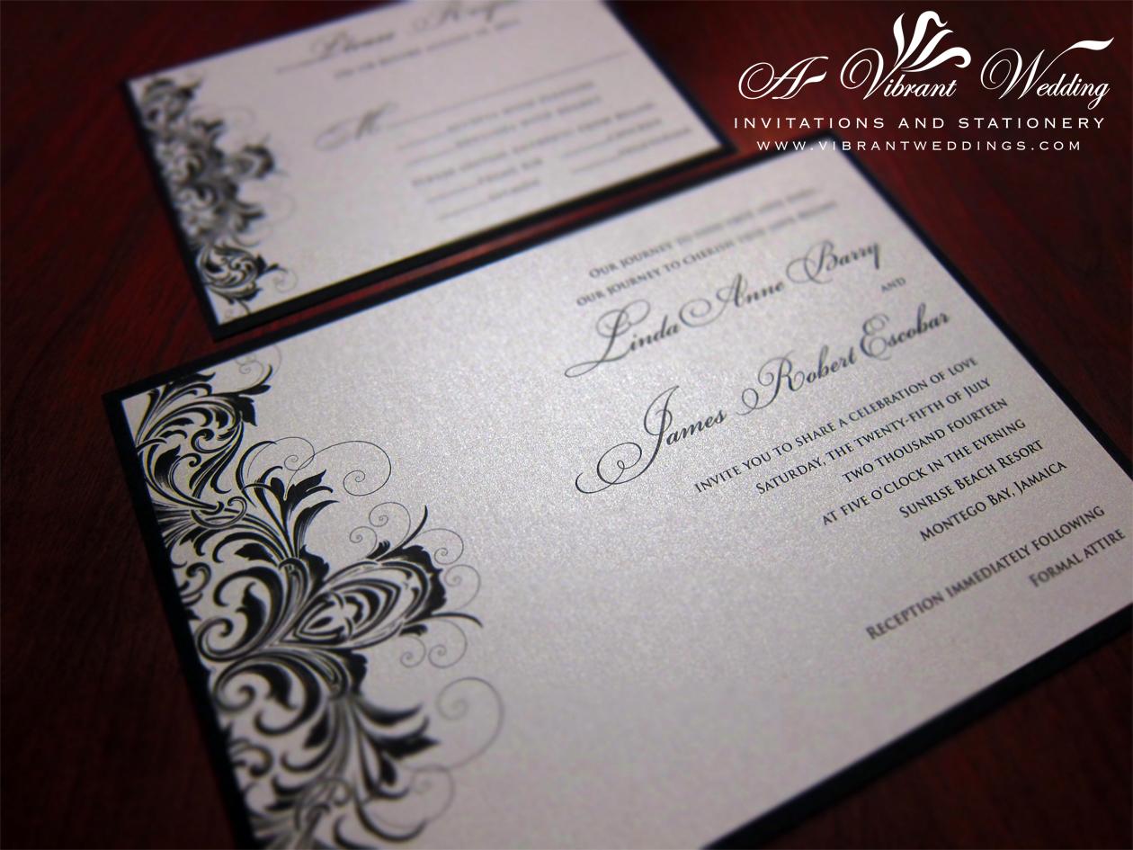 platinum wedding invitation scroll wedding invitations Black and Silver Wedding Invitation Victorian Scroll