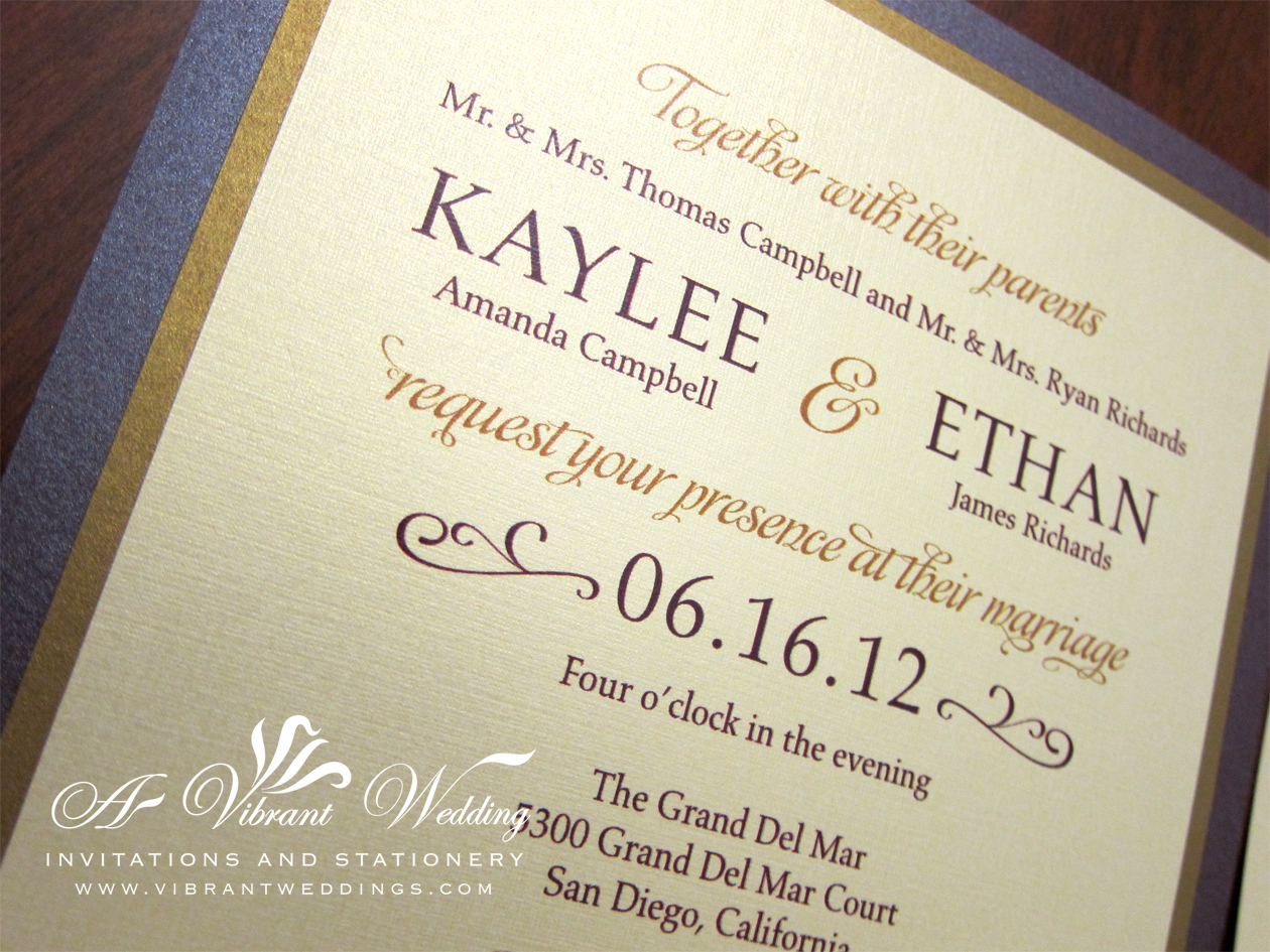 purple and gold wedding invitation gold wedding invitations Ruby Purple Gold Wedding Invitation Modern Contemporary Design