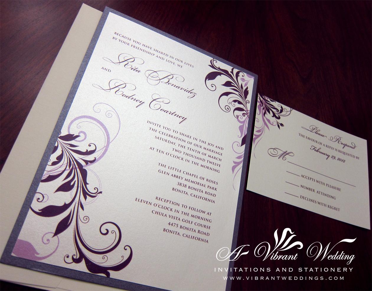flat wedding invitation scroll wedding invitations Eggplant Purple Lavender Wedding Invitation Floral Scroll Design