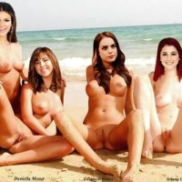 tori, kat, jade and tori's sister are naked on the beach showing their vaginas.