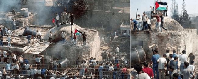 وبعد الحريق ارتفع العلم الفلسطيني فوق قبة المقام