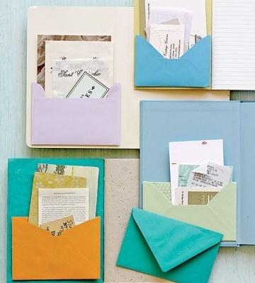 Envelopes nos cadernos