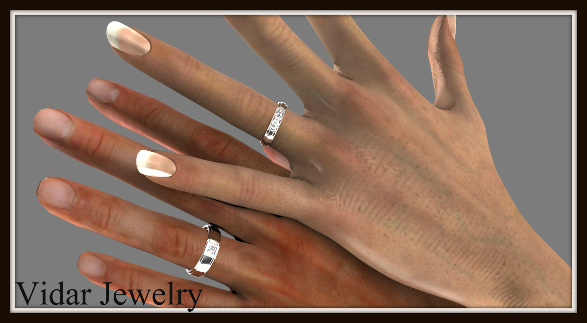 princess cut diamond wedding band set unique wedding ring sets Princess Cut Diamond Wedding Band Set