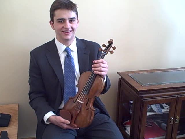 Will Hagen shows us his Amati violin.