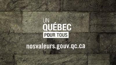 """Québec, 2013 :  Vidéo de propagande de l'État québécois lors de la campagne pour imposer l'adoption d'une """"Charte des valeurs québécoises"""" — en fait, une Charte de la Laïcité — affirmant sacralité de l'État et suprématie dogmatique laïque.  La Charte n'a pas été adoptée. En 2015, le député péquiste Bernard Drainville a relancé sa campagne."""