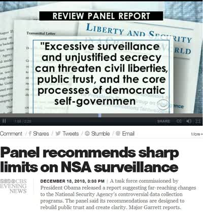 PANEL RECOMENDS SHARP LIMITS ON NSA SURVEILLANCE