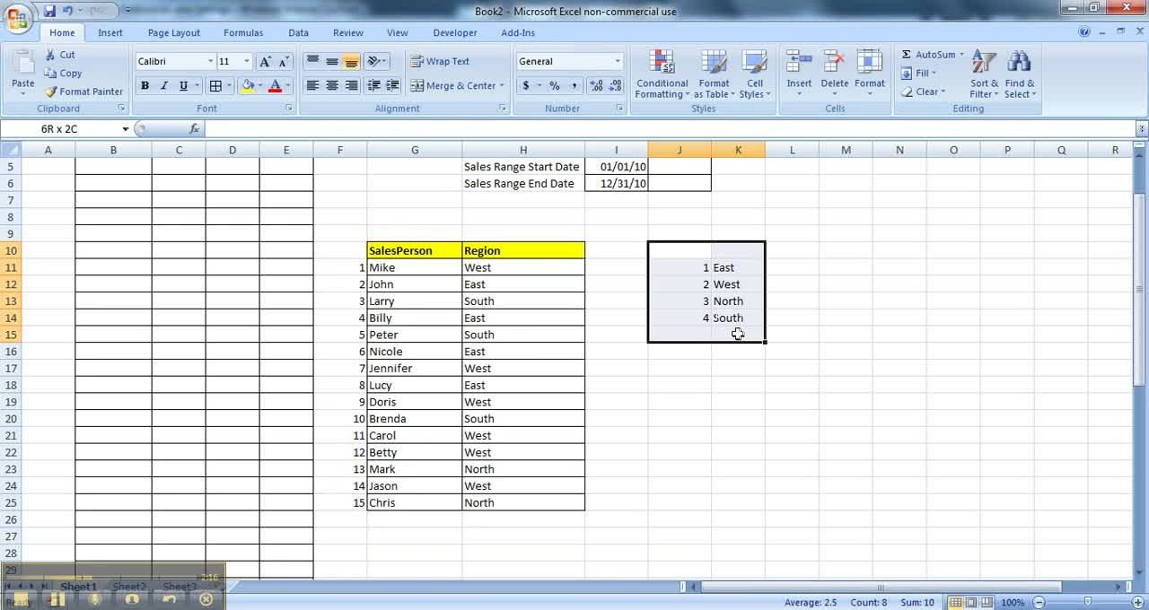Pivot Table Sample Data- Part I