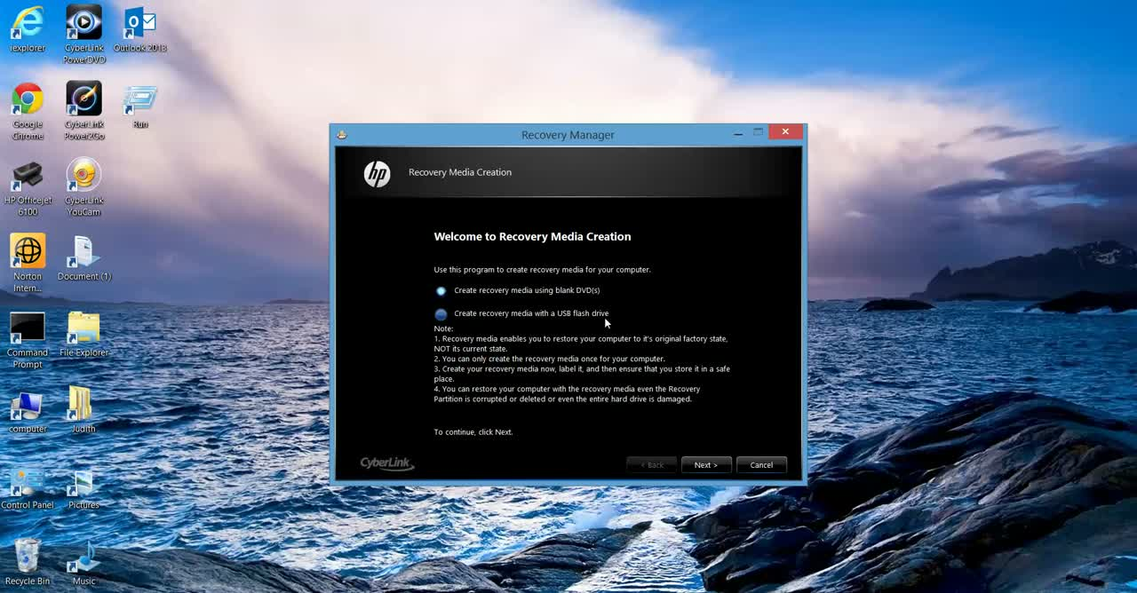 Creating Recovery Media HP Win 8