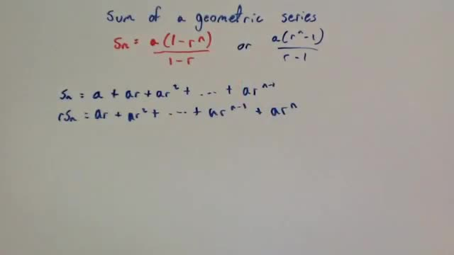 Proof of Sum of a Geometric Series – Corbettmaths